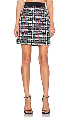 MILLY Tweed Zip Back Skirt in Multi