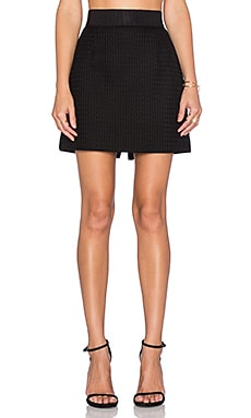 MILLY Honeycomb Zip Back Skirt in Black