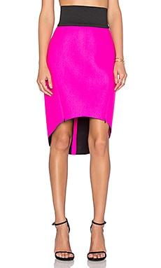 MILLY High Low Skirt in Fluo Pink