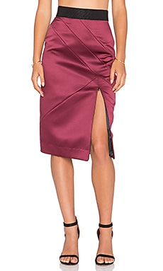 MILLY Peau De Soie Midi Skirt in Burgundy