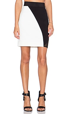 MILLY Mesh Colorblock Skirt in White