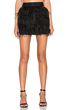 MILLY Feather Mini Skirt in Black