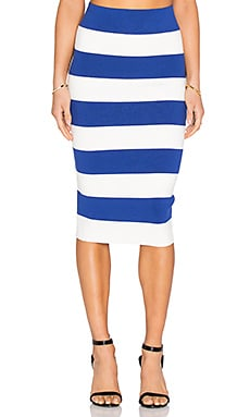 Fitted Skirt in Cobalt & White