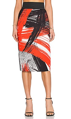 MILLY Brushstroke Print Pencil Skirt in Poppy
