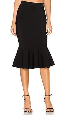 Mermaid Hem Skirt in Black