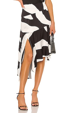 Zebra Print Viscose Asymmetrical Cascade Skirt MILLY $132
