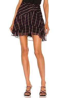 Heidi Windowpane Chiffon Skirt MILLY $295 NEW