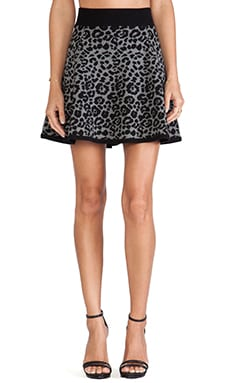 MILLY Cheetah Jacquard Flare Skirt in Black & Charcoal
