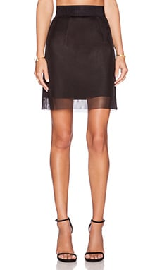 MILLY Organza Mesh Mini Skirt in Black