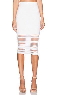 MILLY Illusion Stripe Skirt in White