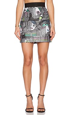 MILLY Les Femmes Jacquard Zip Skirt in Multi