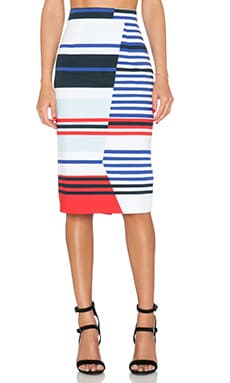 MILLY Stripe Midi Skirt in Multi