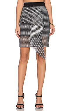 MILLY Mesh Cascade Mini Skirt in Black & White