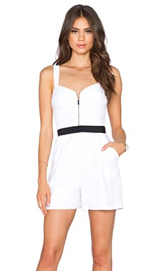 MILLY Zip Front Romper in White