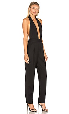 MILLY Gabardine Halter Jumpsuit in Black