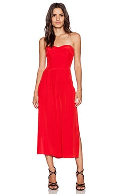 MILLY Strapless Jumpsuit in Red