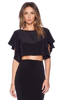 MILLY Silk Crop Top in Black