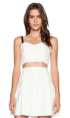MILLY Cady Crop Bustier Top in White