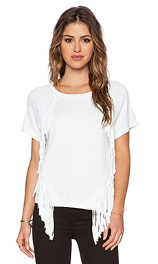 MILLY Angled Fringe Tee in White