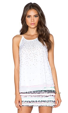 MILLY Fly Away Rhinestone Tank in White