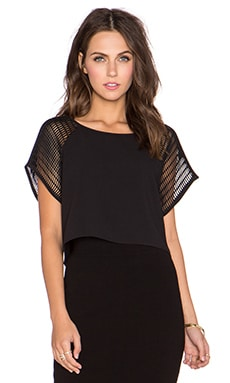 MILLY Mesh Sleeve Tee in Black