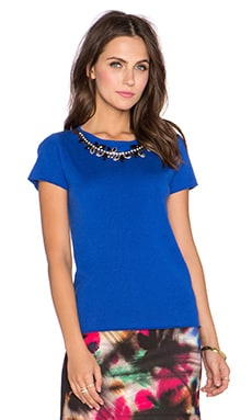 MILLY Milano Necklace Top in Cobalt