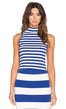 High Neck Tank en Cobalt & White