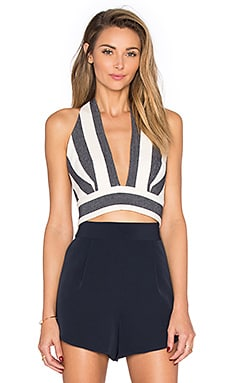 MILLY Deep V Halter Tank in Navy