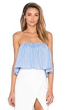 MILLY Strapless Crop Top in Sky
