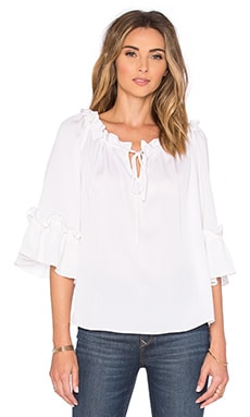 MILLY Santorini 3/4 Sleeve Top in White