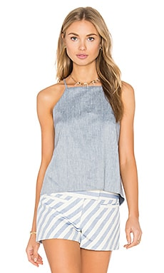 MILLY Trapeze Drape Back Tank in Denim