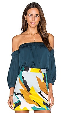 MILLY Silk Off The Shoulder Blouse in Peacock
