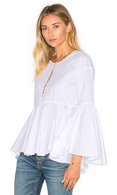 MILLY Poplin Kat Top in White