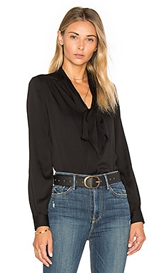 MILLY Tie Neck Blouse in Black