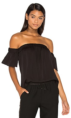 Silk Bare Shoulder Top en Noir