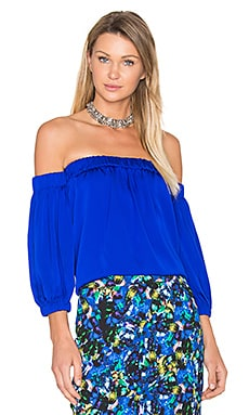 Silk Off Shoulder Blouse in Cobalt
