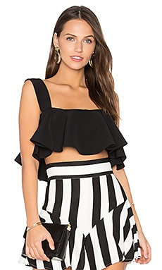Ruffle Cropped Tank in Black