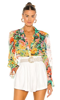 Lacey Garden Floral Blouse MILLY $350