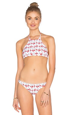 High Neck Halter Bikini Top in Multi