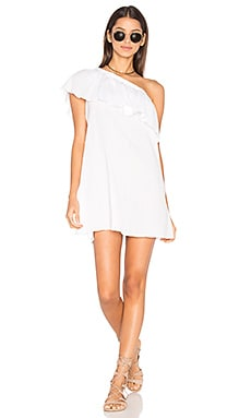 Crinkle Cotton One Shoulder Cover Up in White