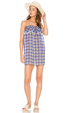 Anguilla Ruffled Strapless Dress in Mosaic Print