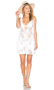 Cotton Eyelet Deep V Cover Up en Blanc