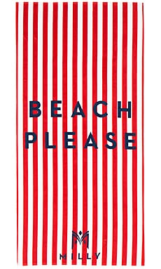 Beach Please Striped Beach Towel in Poppy