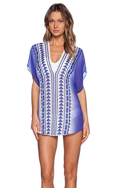 MILLY Ombre Anguilla Embroidered Tunic in Royal