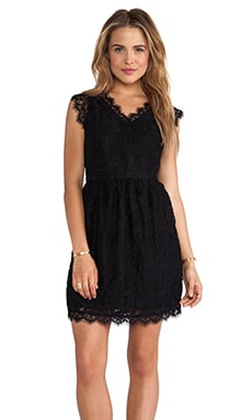 MM Couture by Miss Me Cap Sleeve Allover Lace Dress in Black