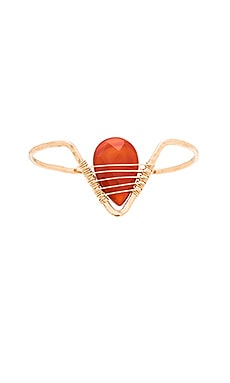 Mimi & Lu Michaela Cuff in Gold & Red Agate