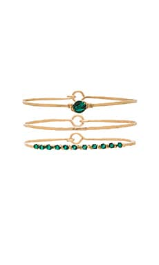 Mimi & Lu Priscilla Bangle Set in Gold and Emerald