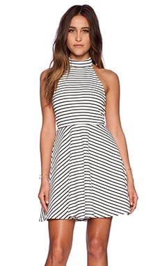 MINKPINK Find Me Guilty Halter Dress in White & Black