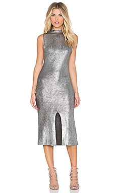 MINKPINK Shine Bright Foiled Midi Dress in Charcoal & Silver