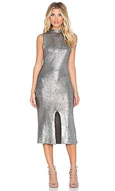 MINKPINK Shine Bright Foiled Midi Dress in Charcoal & Silver
